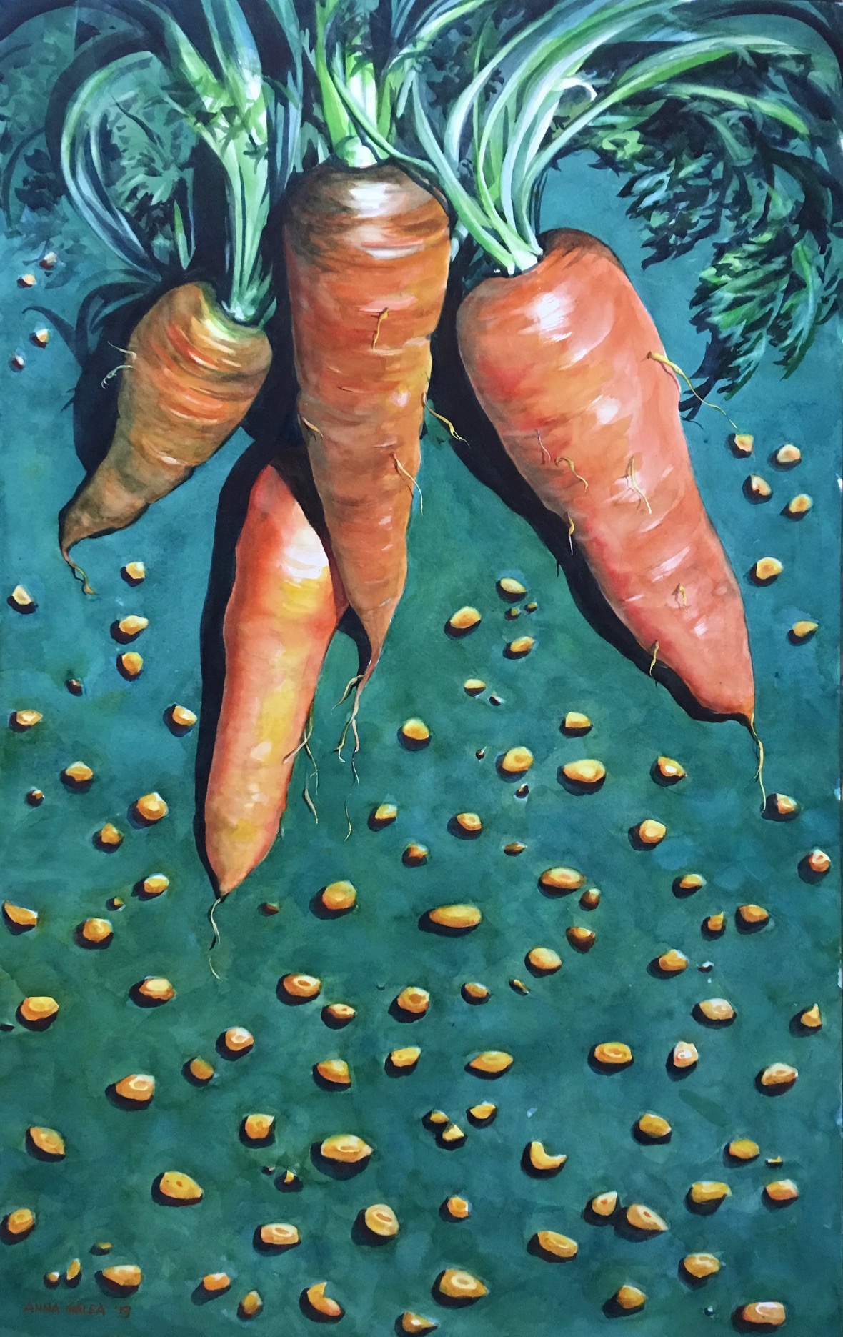 'Dangling Carrots', 2019, Watercolour, 98x62cm, Anna Galea