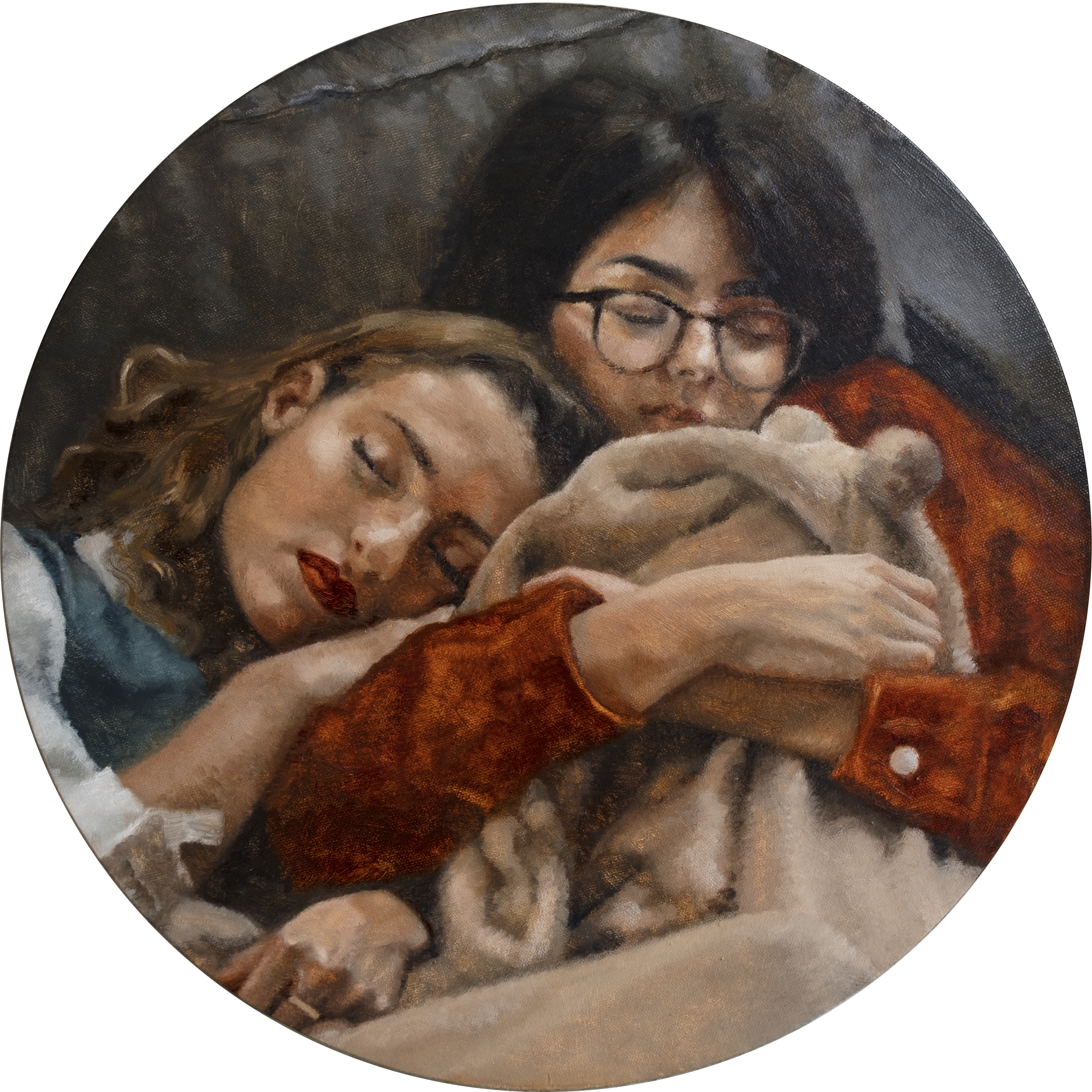 Anna Calleja, Lucia and Nina Sleeping, oil on canvas, 40x40cm, 2020