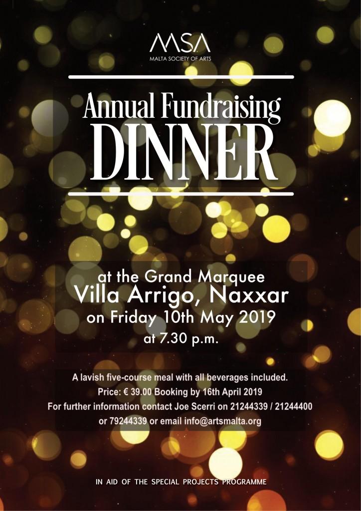 Annual Fund Raising Dinner Poster 2019