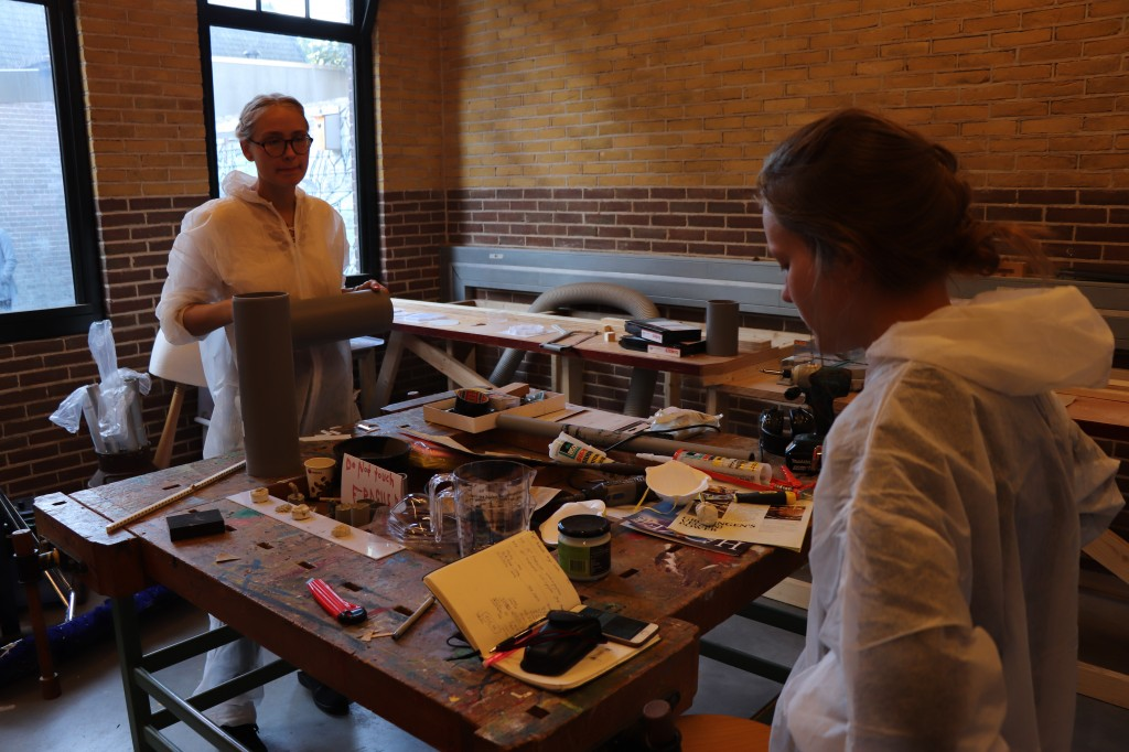 Kristina and Roberta working on their respective installations