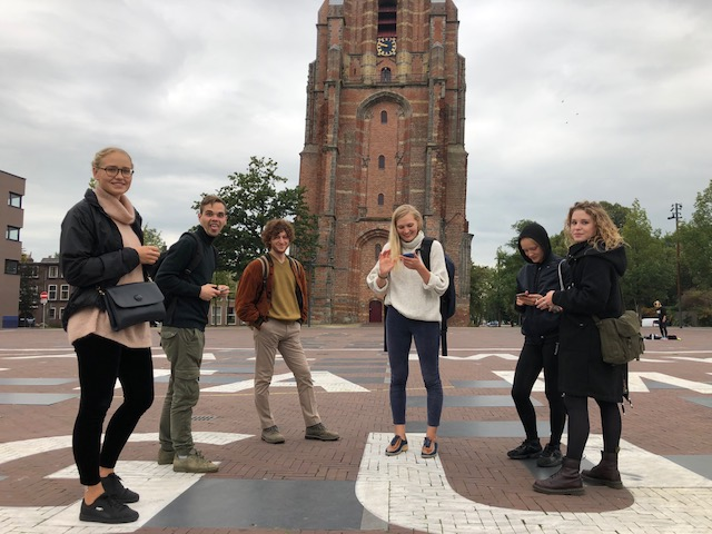 In front of the Oldehove Leaning Medieval Tower