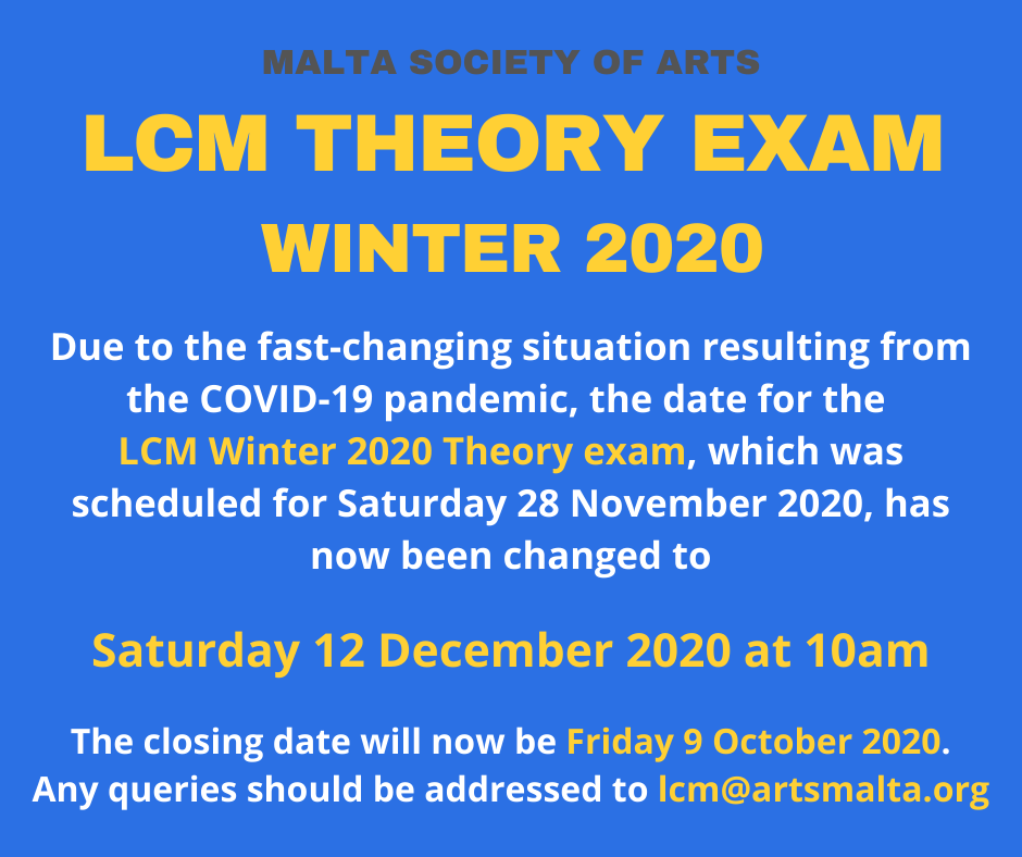 LCM Theory exams Winter 2020 change of date