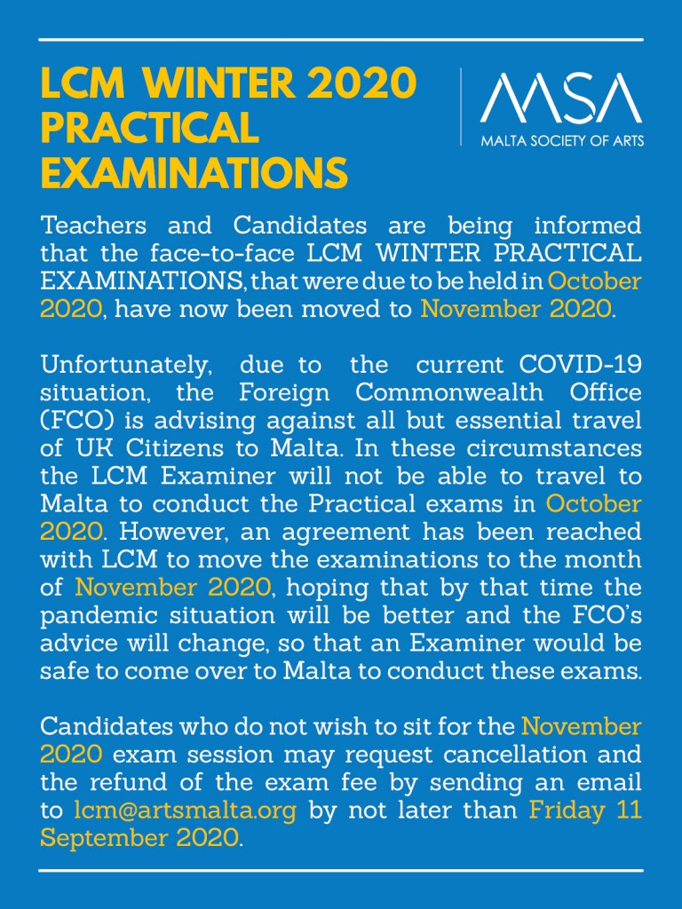 LCM Winter 2020 Practical Exams