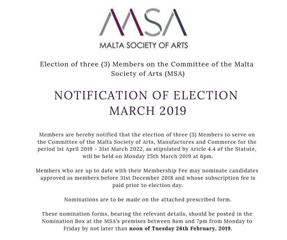 Notification of election