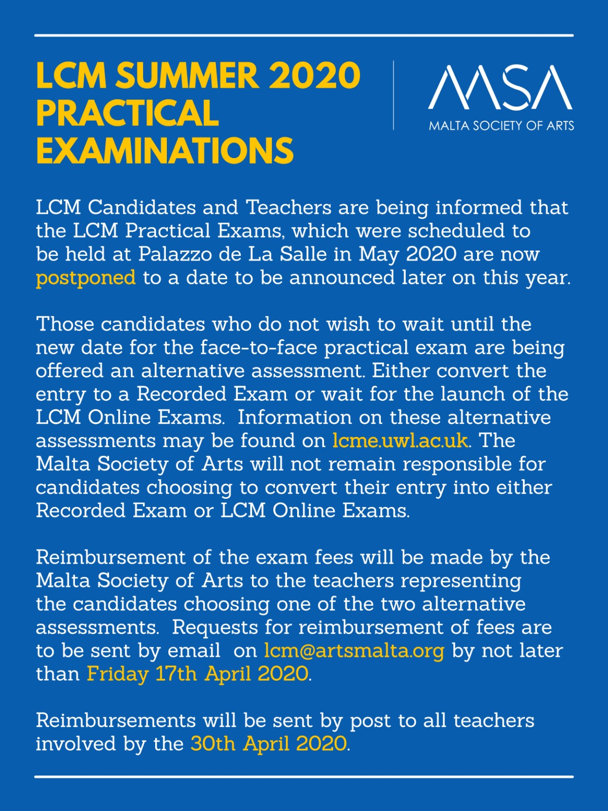 Poster LCM exams alternative assessments with MSA logo