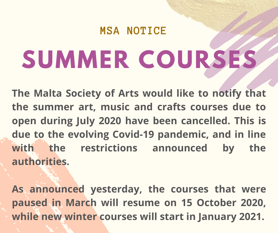 Summer Courses 2020 Cancelled