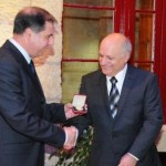 Trevor Zahra receiving the Gold Medal from H.E. President of Malta Dr. George Abela